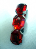 Art Deco Dress Clip - 1930's Red Crystal in Chromed Metal (SOLD)